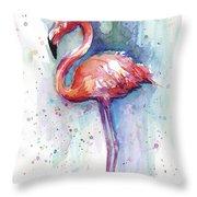 Pink Flamingo Watercolor Throw Pillow