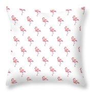 Pink Flamingo Watercolor Pattern Throw Pillow