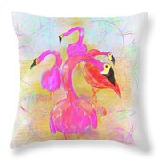 Pink Flamingos In The Park Throw Pillow