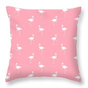 Pink Flamingos Pattern Throw Pillow