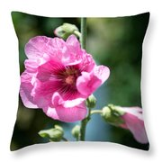 Pink Flower Throw Pillow by Yew Kwang