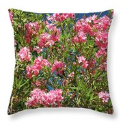 Pink Flowering Shrub Throw Pillow