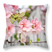 Pink Flowers And A White Picket Fence Throw Pillow