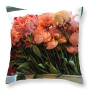 Pink Flowers At The Market Throw Pillow