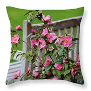 Pink Flowers By The Bench Throw Pillow