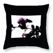 Pink Flowers In Empty Space Throw Pillow