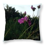 Pink Flowers In Front Of Trees Throw Pillow