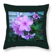 Pink Flowers In The Garden Throw Pillow