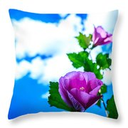 Pink Flowers On A Blue Sky Throw Pillow