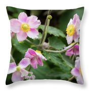 Pink Flowers Over Green Throw Pillow