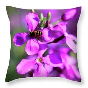 Pink Flowers With Bee . 40d4803 Throw Pillow