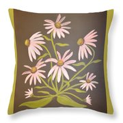Pink Flowers With Brown Background Throw Pillow