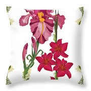 Pink Flowers With Willow Borders Throw Pillow