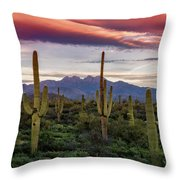 Pink Four Peaks Sunset  Throw Pillow