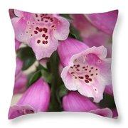 Pink Foxglove Throw Pillow