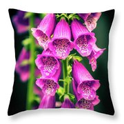 Pink Foxglove Throw Pillow
