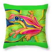 Pink Frog On Leafs Throw Pillow