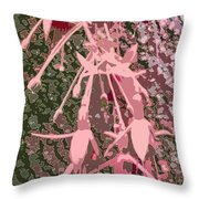 Pink Fuschia Against Tree Bark Throw Pillow