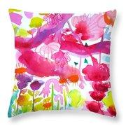 Pink Garden Tree Throw Pillow