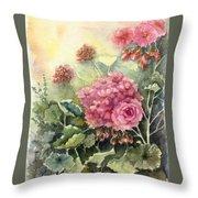 Pink Geranium's  Throw Pillow