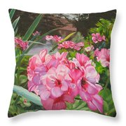 Pink Geraniums Throw Pillow by Lea Novak