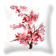 Cherry Blossom, Pink Gifts For Her, Sakura Giclee Fine Art Print, Flower Watercolor Painting Throw Pillow