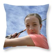 Pink Girl Pre Swing 02 Throw Pillow