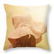Pink Girls Hat On Farmyard Fence Post Throw Pillow