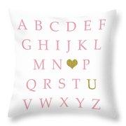 Pink Gold Abc Alphabet Heart Sampler Print Throw Pillow