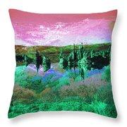 Pink Green Waterscape - Fantasy Artwork Throw Pillow