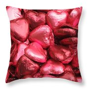 Pink Heart Chocolates I Throw Pillow