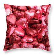 Pink Heart Chocolates II Throw Pillow