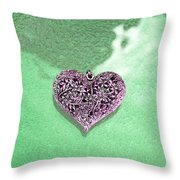 Pink Heart On Frosted Glass Throw Pillow