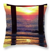 Pink Heart Sun Flare Clearwater Sunset Throw Pillow