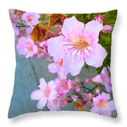Pink Hello Throw Pillow