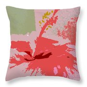 Pink Hibiscus Abstract Throw Pillow