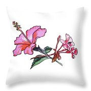 Pink Hibiscus And Geranium  Throw Pillow
