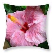 Pink Hibiscus Flower 1 Throw Pillow