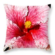 Pink Hibiscus Inspired By Georgia O'keefe Throw Pillow
