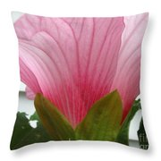 Pink Hibiscus Ready To Bloom Throw Pillow