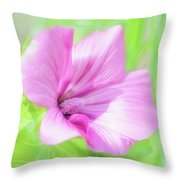 Pink Hollyhock Flower Throw Pillow
