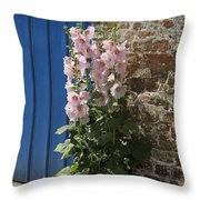 Pink Hollyhocks Growing From A Crack In The Pavement Throw Pillow