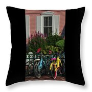 Pink House Bikes Cape May Nj Throw Pillow