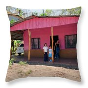 Pink House In Costa Rica Throw Pillow