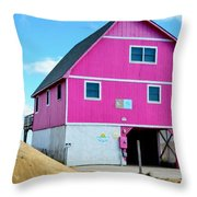 Pink House On The Beach 1 Throw Pillow