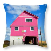 Pink House On The Beach 3 Throw Pillow