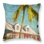 Pink House Palm Throw Pillow