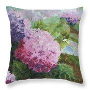 Pink Hydrangea Throw Pillow