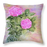 Pink Hydrangeas And Hostas Throw Pillow