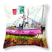 Pink Irish Boat Throw Pillow